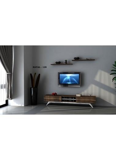 Sanal Mobilya Hayal 128 Tv Ünitesi Leon Ceviz/Parlak Beyaz Beyaz